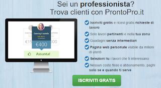 ProntoPro.it lavoro iscrizione gratuita professionisti  privati