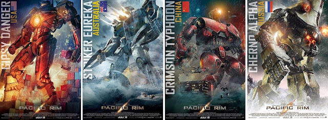 Gipsy Ranger, Striker Eureka, Crimson Typhoon and Cherno Alpha are the Jaegers in Guillermo del Toro's Pacific Rim (2013)