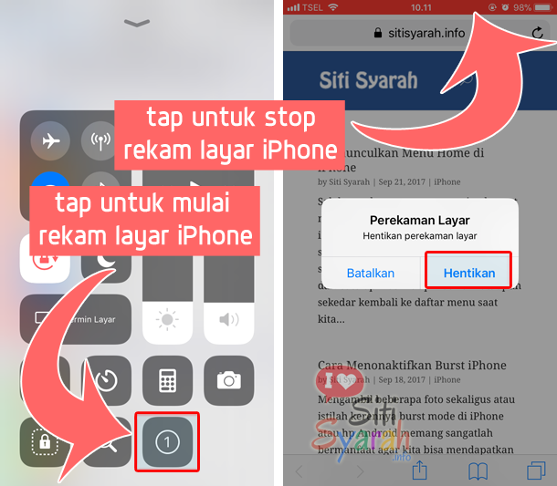 cara rekam layar iPhone tanpa aplikasi di iOS 11