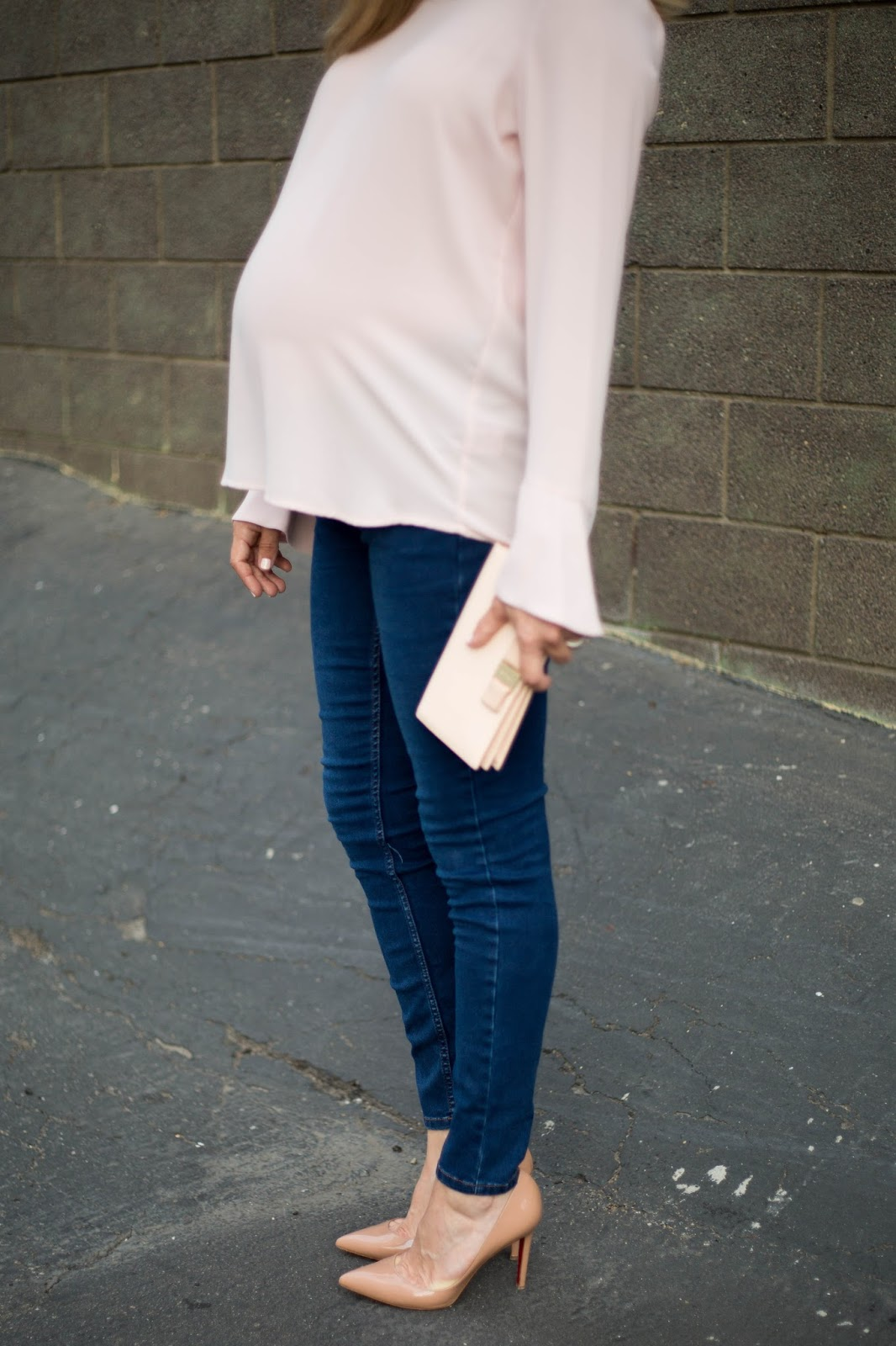 maternity blush top and nude heels