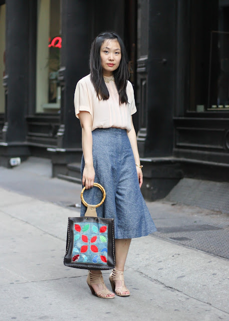 Denim Culottes and Vintage Pink Blouse