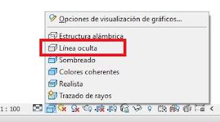 Opción de visualización de vistas línea oculta, Revit