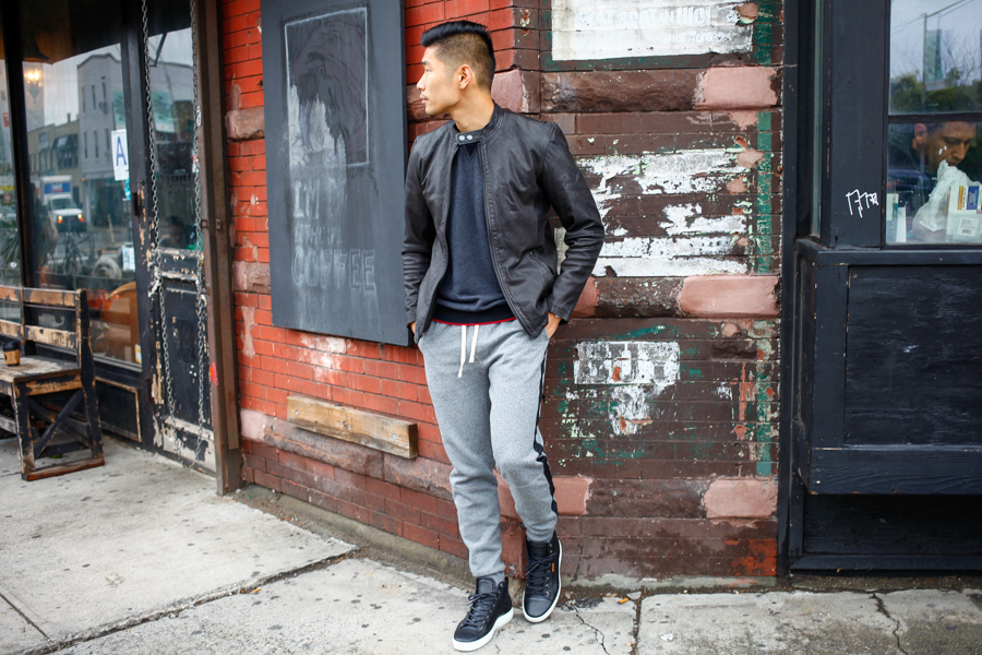 Levitate Style, Leo Chan - Ways to Wear a Leather Jacket Sweatpants
