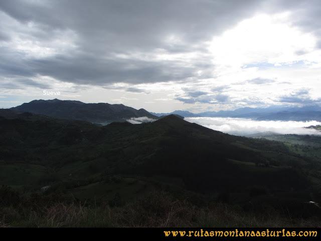 Ruta Torazo, Pico Incos: Indice Vista del Sueve desde el Incos