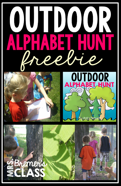 Free outdoor alphabet hunt! Take learning outside & make learning the alphabet an active learning experience! Head outdoors and go on an alphabet hunt. When students find something that begins with a certain letter, they can fill in their forms. #freebies #kindergarten #alphabet #scavengerhunt #phonics #literacy