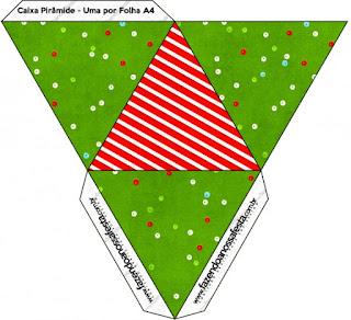 Caja con forma de pirámide de Navidad a Rayas.