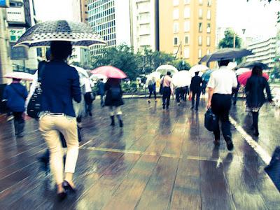 A Tokyo street during Tropical Storm Etau.