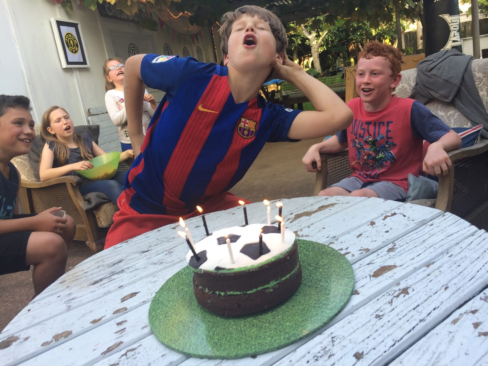 The birthday boy and his pals loved his birthday cake