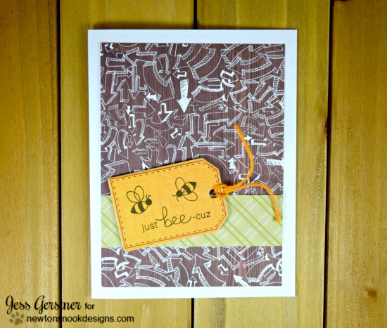 BEE tag card by Jess Gerstner | Stamps by Newton's Nook Designs #newtonsnook