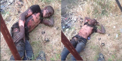 Graphic Photos: See Transformer Thief Apprehended After Surviving Electrocution in Borno