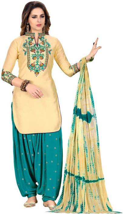 1757c5e3d6 Click Here To Buy Saara Chanderi Embroidered, Embellished Semi-stitched  Salwar Suit Dupatta Material Rs 1889 /- Only