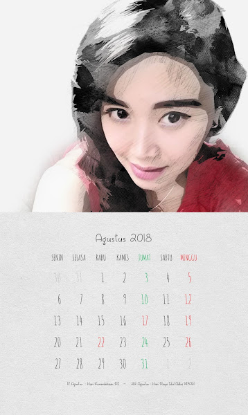 Desain Kalender Indonesia 2018 - Agustus