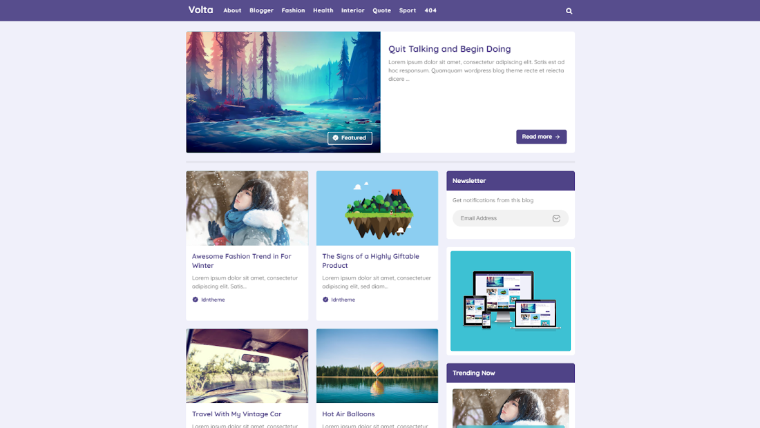 Volta responsive and fast Loading premium blogger template free download.