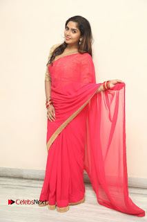 Actress Karunya Chowdary Pictures in Red Saree at Neerajanam Audio Launch  0124.JPG