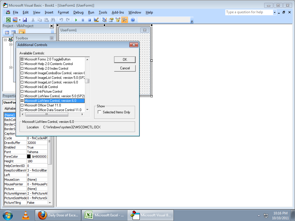 Mindkid Adding Listview Additional Activex Control In