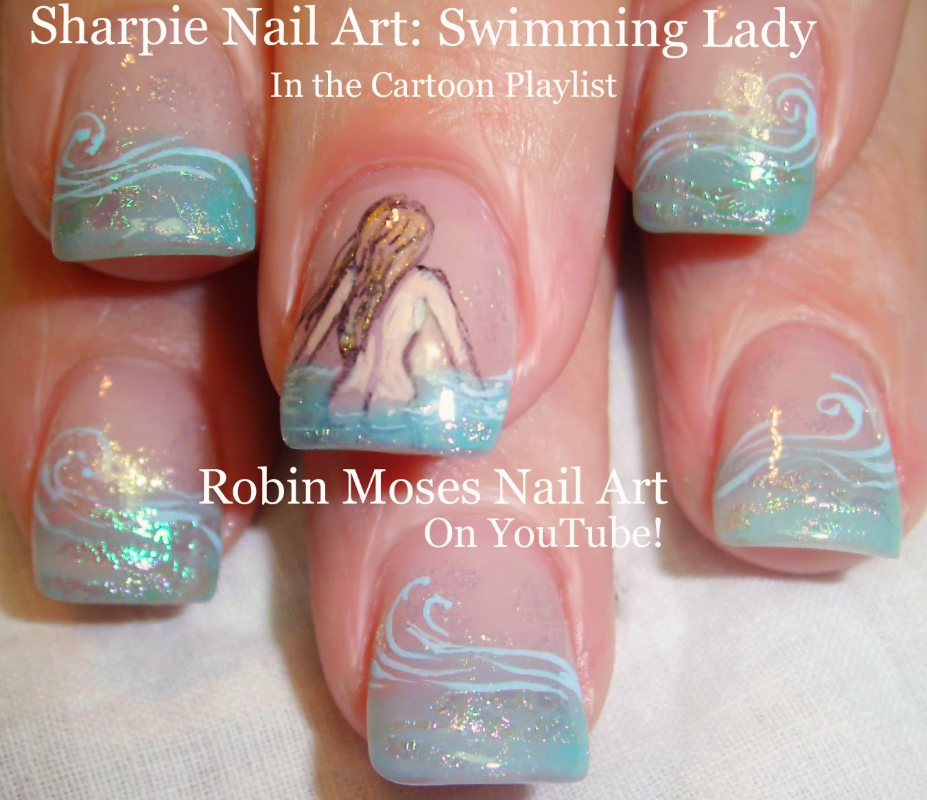 A Fun Nail Art Tutorial Up For My Birthday Suit Skinny Dipper Done With Sharpie Pens And Foil