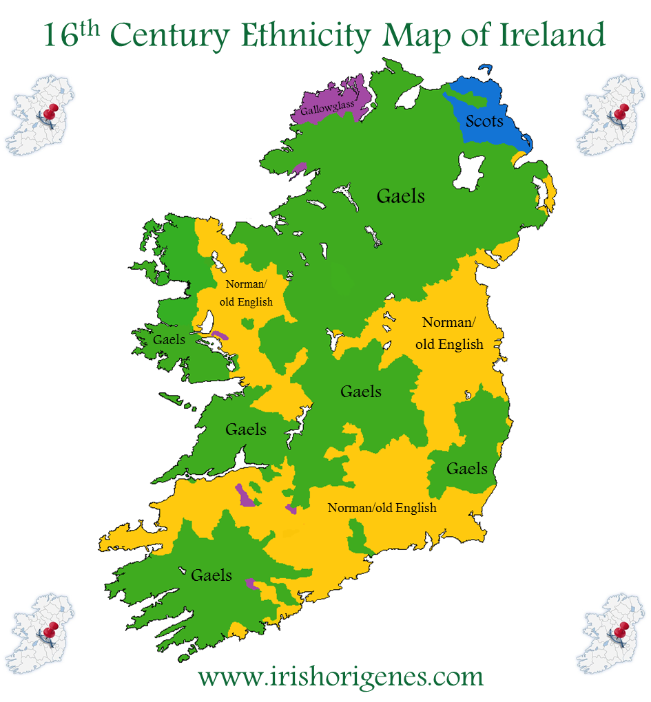 16th century ethnicity map of Ireland