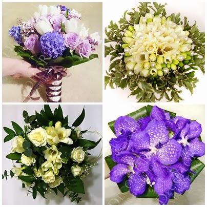 lila tavaszi csokor, frézia csokor, lila orchidea csokor