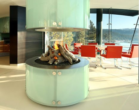 indoor glass fireplace