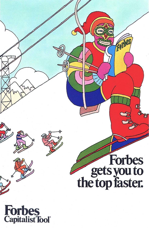 Seymore Schwast illustration for Forbes, man on a ski lift