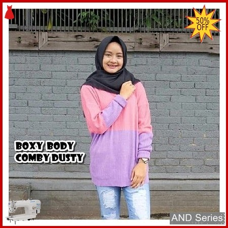 AND352 Sweater Wanita Boxy Body Comby Dusty BMGShop