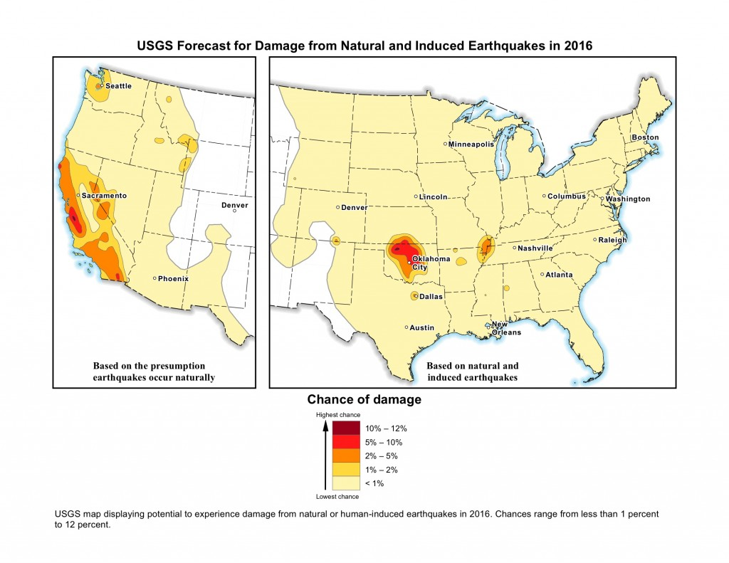 USGS forecast for damage from natural & induced earthquakes (2016)