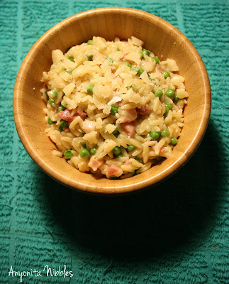 Pancetta and Pea orztto orzo risotto
