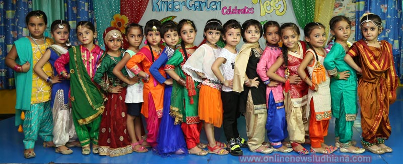 The tiny tots in traditional attire during Teej Celebrations at Green Land Convent School in Dugri