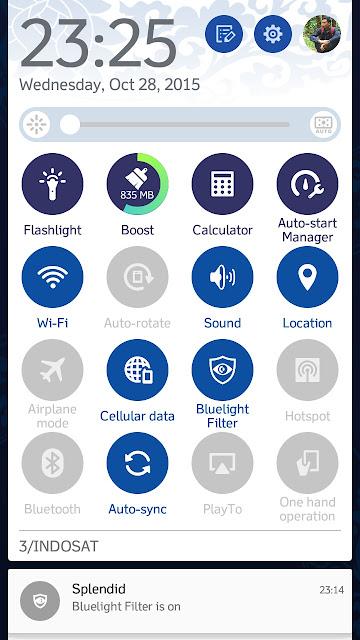 Tampilan Icon Quick Panel Setelah ganti tema
