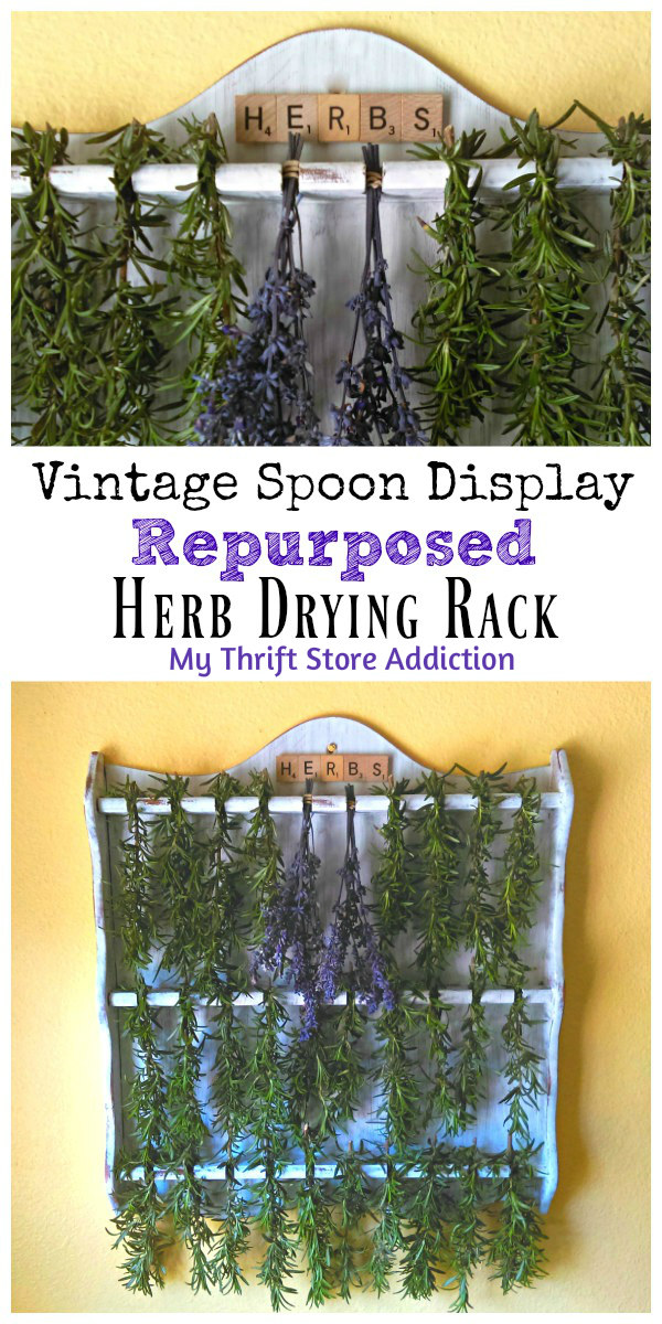 vintage spoon display herb drying rack