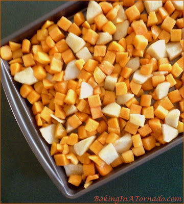 Roasted Butternut Squash with Apples, this flavorful Fall side dish is quick to prepare and cooks in under ½ hour | Recipe developed by www.BakingInATornado.com | #recipe #dinner