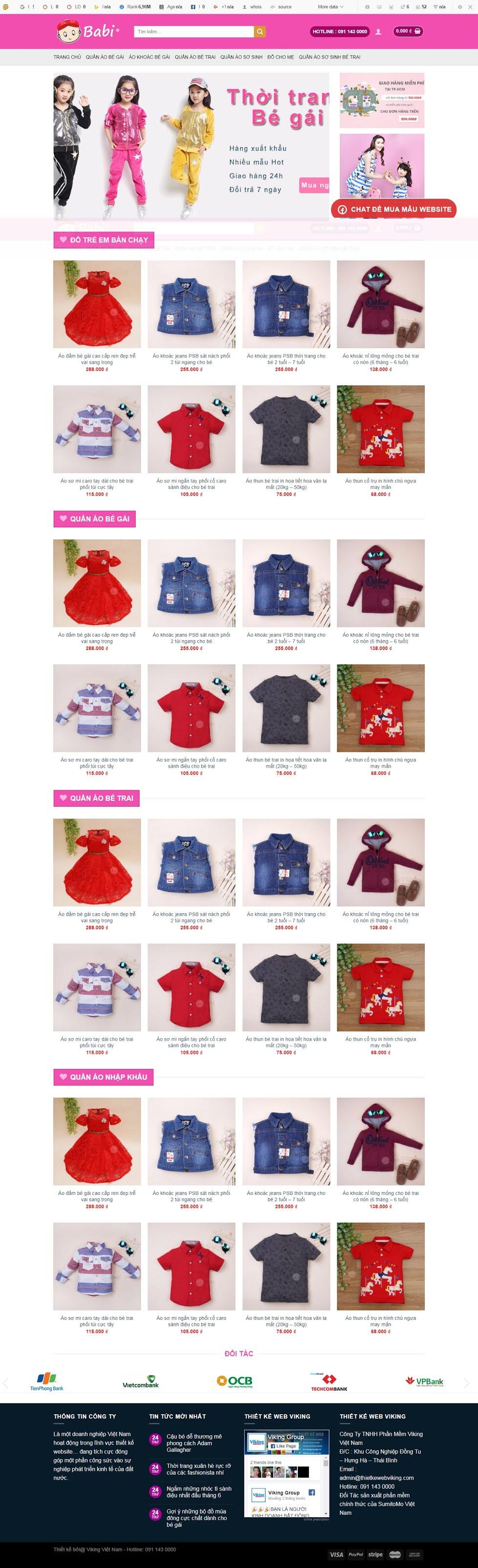 MẪU BÁN HÀNG 057 - quần áo trẻ em