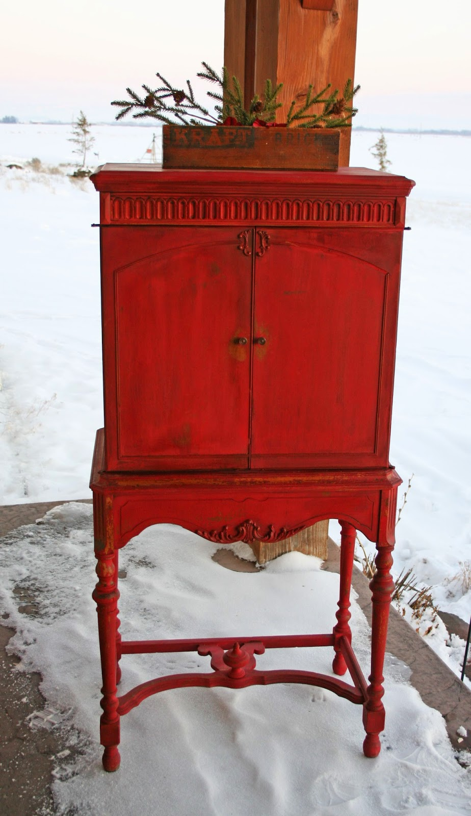 Amazing MMS Tricycle Red Milk Paint Cabinet from Antique Recreation | Friday Favorites Furniture at www.andersonandgrant.com