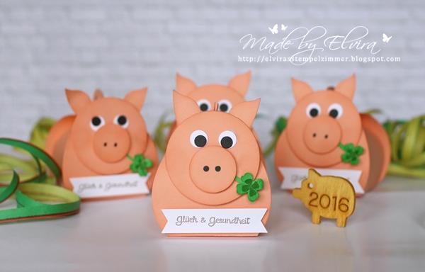 Schweinchen Glücksbringer für Neujahr von Stampin Up