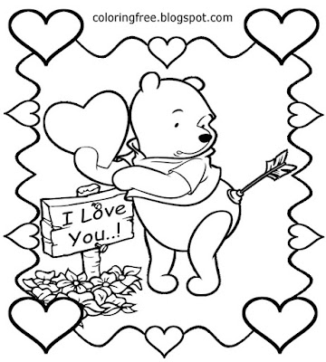 I love you coloring pages easy Winnie the Pooh Valentines Day Disney characters printables for teens