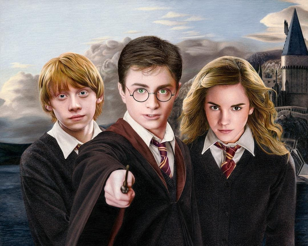 05-Harry-Potter-Ron-Weasley-and-Hermione-Granger-Heather-Rooney-Photorealistic-Colored-Pencil-Drawing-Portraits-www-designstack-co