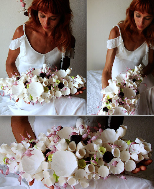 centrotavola con fiori di carta per matrimonio vegan, Roma Lazio