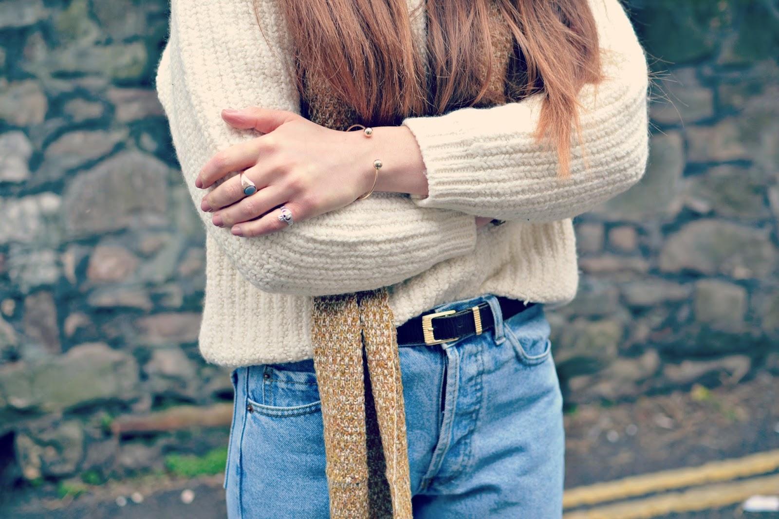 vintage rings, charity shop jumper, vintage levi jeans, asos scarf