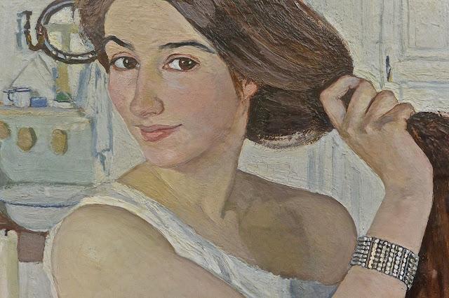 Peintre franco-russe Zenaïda Serebriakova : autoportrait exposé à la Galerie Tretiakov, Moscou (détail)