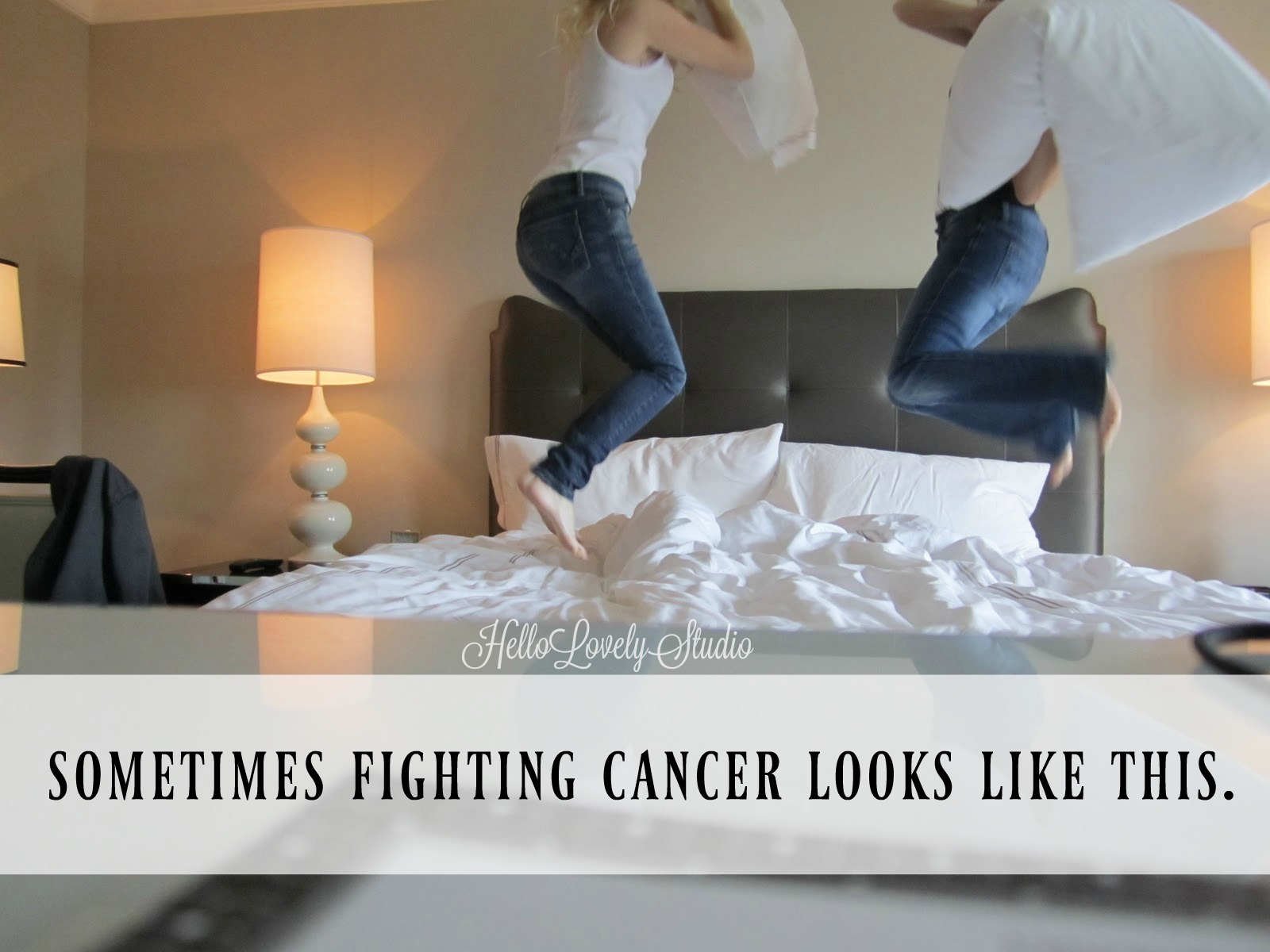 Breast Cancer Previvor - Inspiring Breast Cancer Image and Quote. Two women jumping on bed and having pillow fight. Sometimes fighting cancer looks like this. #BRCA #cancer #previvor #breastcancer