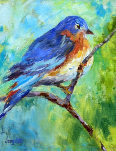 daily painters abstract gallery bird art oil painting singing the