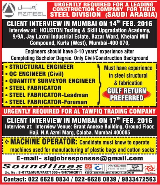 URGENTLY REQUIRED FOR A LEADING CONSTRUCTION COMPANY FOR THEIR STEEL