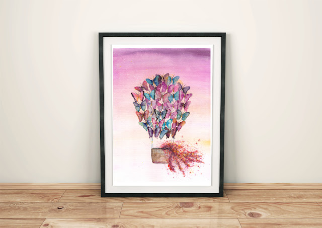 Butterfly Balloon Watercolor Painting