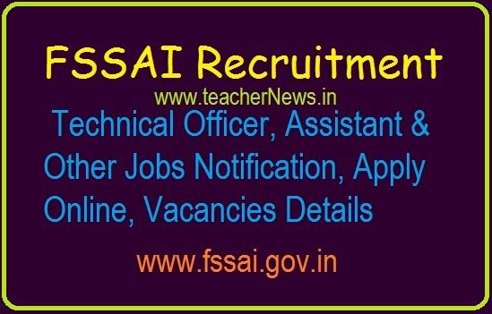 FSSAI Technical Officer Assistant Jobs 2019 Apply Online for 275 Vacancies @ www.fssai.gov.in