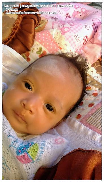 Gambar: Aina ketika ni masih lagi seorang bayi perempuan berusia 1 bulan 14 hari.