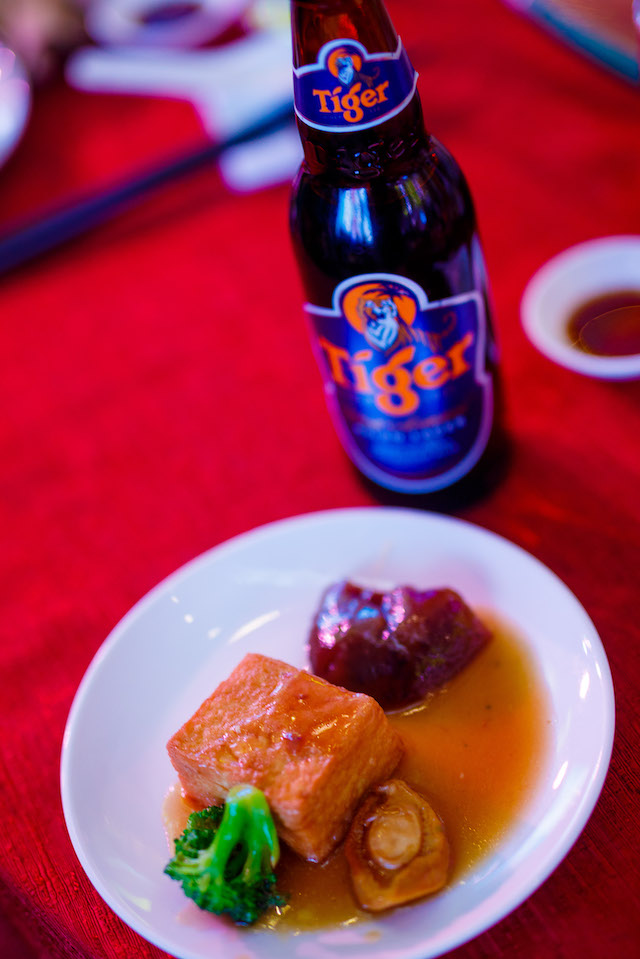 Abalones and more, paired with Tiger Beer