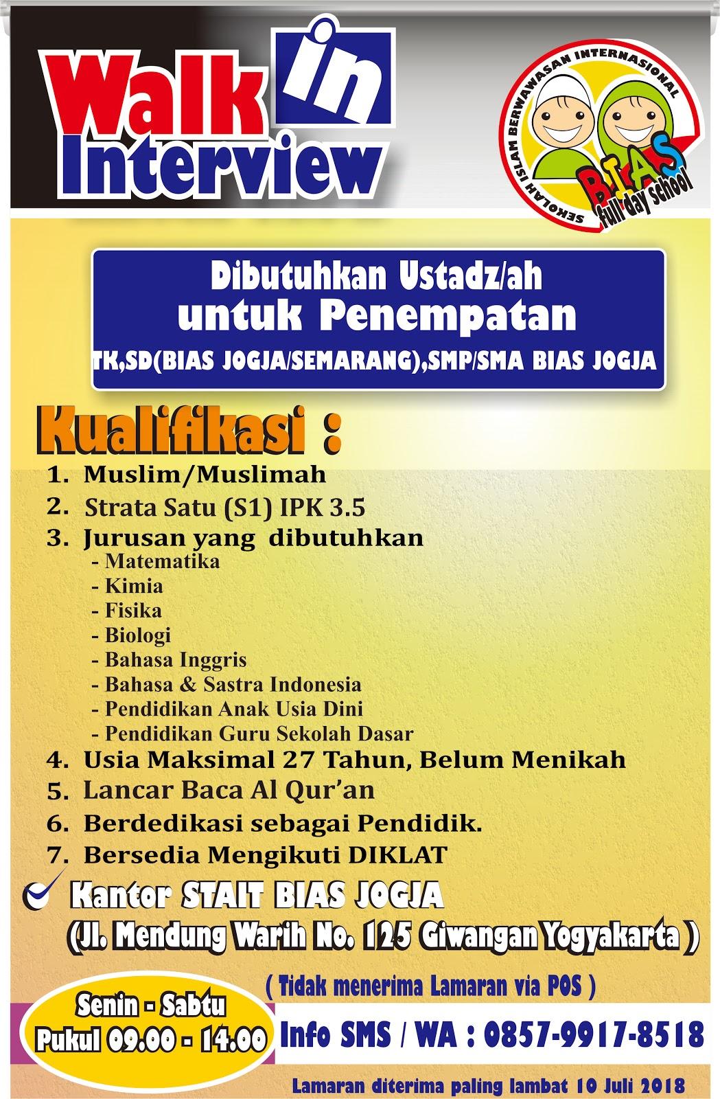 Lowongan Kerja Ustadz/ah Sekolah BIAS Indonesia