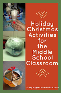 Fun Christmas Middle School Teaching Ideas for the last days before Winter Break!   Holiday projects for the classroom!  #Christmas #ChristmasActivities #teaching