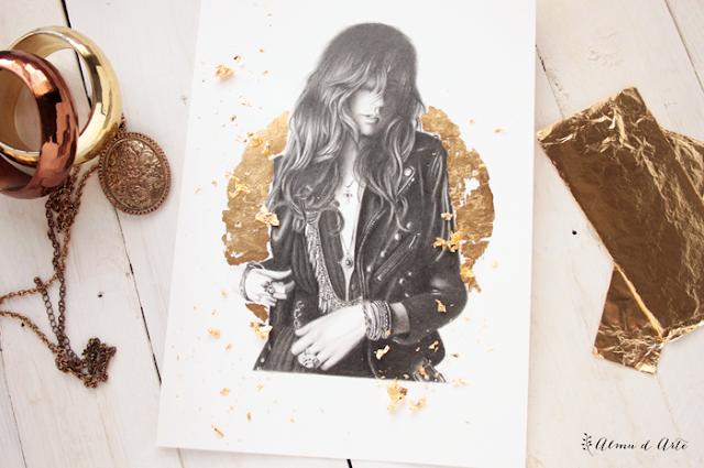 Dibujo a lápiz y pan de oro
