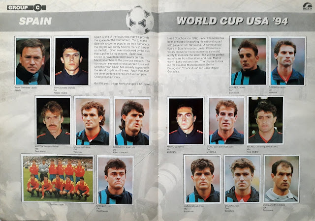 WORLD CUP USA '94 STICKER ALBUM COLLECTION GROUP C SPAIN